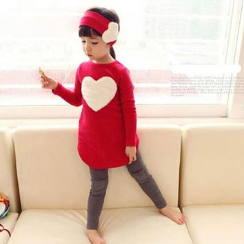 2018 New Cute Baby Girls Clothes Suit/Kids Love Hair Hoop Long Sleeve Three-piece Dress Set Pink Red 2 color