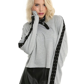 Grey Lace-Up Long-Sleeve Girls Top