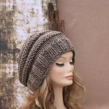 Hand Knit Slouchy Beanie, Pattern Hat, Women Men Slouchy Beanie, Knit Hat, Chunky Knit, Winter Fall Accessories, Slouchy, Knitted Pale Brown