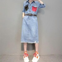 """Louis Vutitton"" Women Casual Fashion Multicolor Pocket Middle Sleeve Lapel Denim Dress"