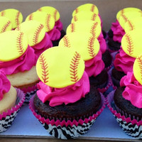 Softball Cupcake Topper