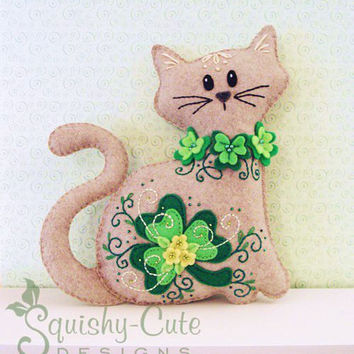 Cat Stuffed Animal Pattern - Felt Plushie Sewing Pattern & Tutorial - Shamrock the St. Patrick's Day Cat - Embroidery Pattern PDF