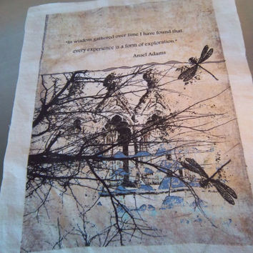 Art journal supply dragonfly fabric panel handmade quilt square  quote primitive nature art scrapbooking sewing supply wall art home decor