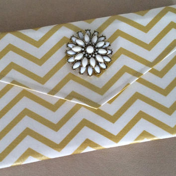 Metallic Gold Chevron Clutch with Removable Broach, Wedding Clutch