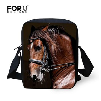 FORUDESIGNS Women Shoulder Cross-body Bag Vintage 3D Horse Animal Prints Woman Messenger Bag For Teenager Girls Mochila Infantil
