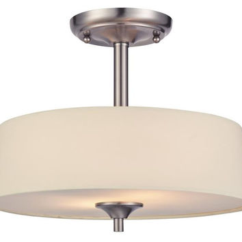 Parker Mews Two-Light Semi-Flush Ceiling Fixture, Brushed Nickel Finish with White Linen Fabric Shade