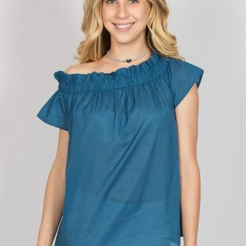 Ruffled Shoulder Top