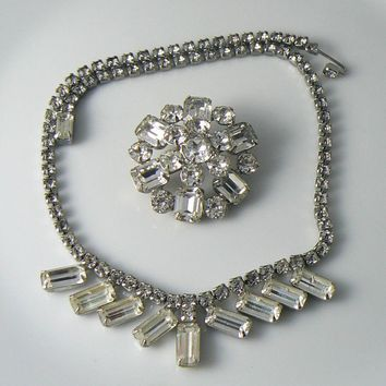 Vintage Weiss Clear Baguette Rhinestone Necklace And Brooch