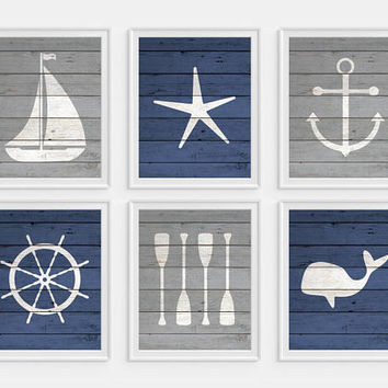 Nautical Nursery, Nautical Boys Room, Nautical Wall Art, Anchor, Whale, Oars, Boat, Blue Room Decor, Childrens Nautical Art, Anchor Wall Art
