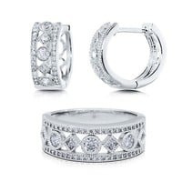 Princess And Round Cut Clear Cubic Zirconia CZ 925 Sterling Silver Alternate Huggie Earrings And Ring Matching 2 Pc Set #vs121