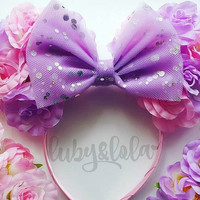 Made-To-Order Cute Rapunzel Inspired Minnie Mouse Ears Floral Minnie Headband Rose Crown Disney Fesitval Headband