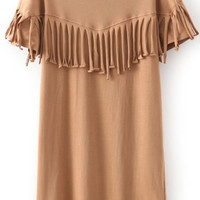 Coffee Colored Tassel Short Sleeve Dress