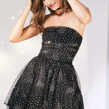 Motel Sisley Glitter Dot Strapless Mini Dress - Urban Outfitters