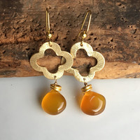 Quatrefoil Earrings, Butterscotch Chalcedony, Chalcedony Briolettes, Dangle Earrings, Fall Earrings, Autumnal Earrings