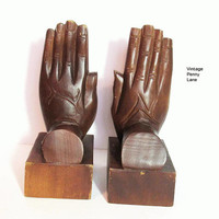 Vintage Wood Hands Bookends / Book Ends, Bohemian Style Decor
