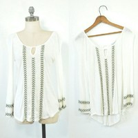 Embroidered White Peasant Top | Keyhole Boho Shirt