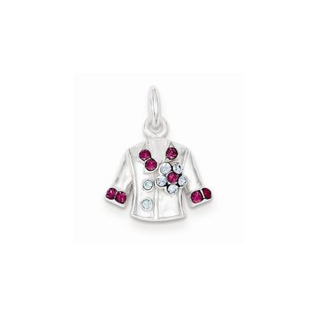 Sterling Silver Crystal Jacket Charm