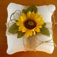 Wedding, Ring Bearer Pillow, Pillow for Ring Bearer, Sunflower Burlap Pillow, Wedding ring pillow, Rustic