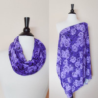 Nursing cover - purple nursing scarf - breastfeeding cover - baby shower gift - new mom gift - christmas gift for her - floral nursing cover