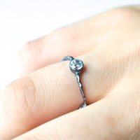 White Topaz Ring, Oxidized Silver, Unusual Ring, Custom Made Jewelry, Sterling Silver, Artisan Ring, Black Jewelry, Handcrafted