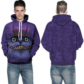 Purple Cheshire Cat Hooded Sweatshirts Coats Jackets Animal Print Winter Skateboard Hoodie Winter Mens Outerwear Sweater Jackets