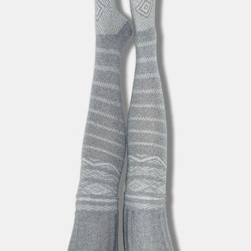Scandinavian Patterned Thigh High Socks Grey