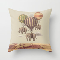 Flight of the Elephants Throw Pillow by Terry Fan