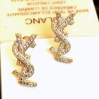 YSL Earring alphabet s925 sterling silver earrings F