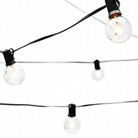 String Lights with 25 G40 Bulbs by Deneve - Connectable Outdoor Bistro Market Cafe Hanging Umbrella Garden Party Patio Lamp Backyard Lights - 100% Guarantee on Light String! (Black)