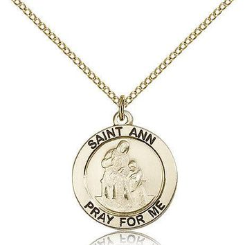 "Saint Ann Medal For Women - Gold Filled Necklace On 18"" Chain - 30 Day Money ... 617759577464"