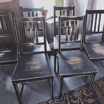 Distressed Solid Wood Dining Chairs Set(6)  Fre...