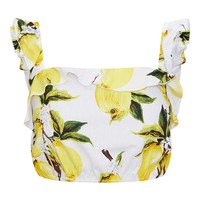 Cream Lemon Print Ruffle Strap Crop Top