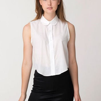 Peter Pan Collar Sleeveless Chiffon Top