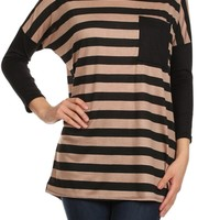 3/4 Sleeve Striped Knit Tunic Top