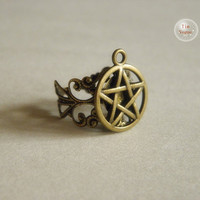 antique bronze supernatural pentacle ring jewelry --adjustable size
