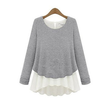 Fashion Tops Casual Pullovers Thick O-neck Loose Long Sleeve Sweater Knitted Blouse khaki grey