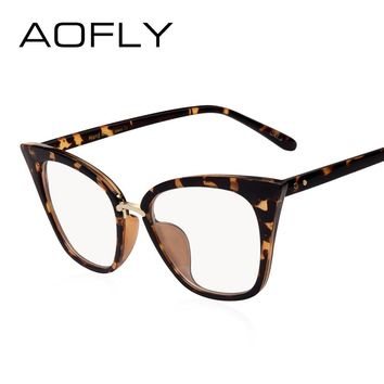 AOFLY BRAND DESIGN Women's Plain Glasses Cat Eye Glasses Frame Clear Lens Optical Spectacle Eyeglasses Fashion Goggles AF2537