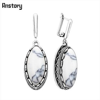 LMFIJ6 Classic Eye Shape White Blue Stone Earrings For Women Vintage Antique Silver Plated Wedding Party Gift Fashion Jewelry TE151