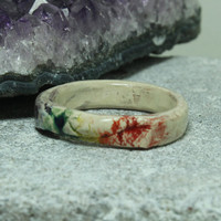 Rainbow  ceramic Ring Pottery ring Size 8 3/4  Unique jewelry R17