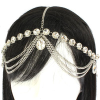 Rhinestone Crystal Teardrop Head Hair Chain