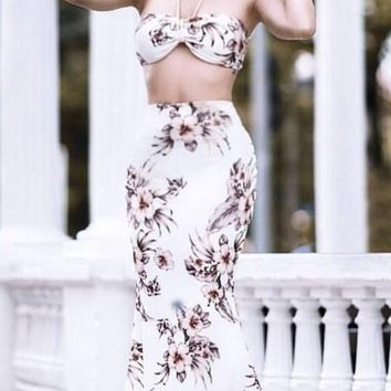 White Floral Bandeau Mermaid Halter Neck Backless Two Piece Bohemian Maxi Dress