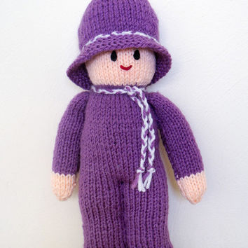 Small Dolls, Hand Knitted Doll, Handmade Dolls, Knitted Doll, Purple Doll, Soft Plush Toys, Knitted Toys, Stuffed Toy Doll, Kids Gift