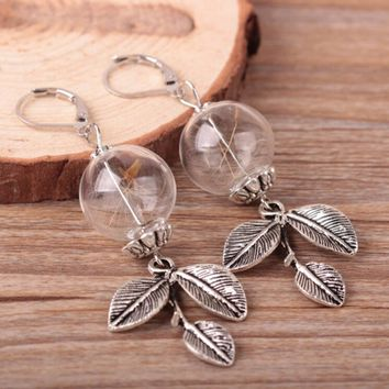 accessories glass crystal beads earrings for women Dandelion in the glass globe Terrarium earring