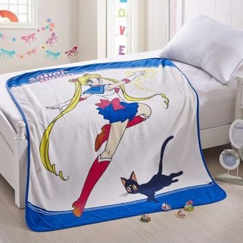 Sailor Moon Cosplay Blanket Kawaii Tsukino Usagi Fleece Travel Blanket Home Office Throw on Sofa Summer Soft Airplane Carpet