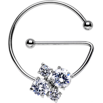 Clear Cluster Universal Nipple Ring Created with Swarovski Crystals | Body Candy Body Jewelry