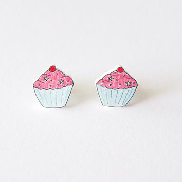 Pink and Blue Cupcake Earrings - Made To Order