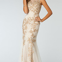 Beaded Floor Length Sleeveless Formal Dress by Atria
