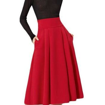 Pleated Midi Skirt Women Red Wide Waistband Side Zip Box Skirts New Fashion Spring Elegant Ladies Long Skirt