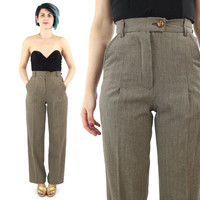 Handmade High Waist Trousers Brown Trousers Checkered Pleated Pants Pockets Straight Leg Pants with Pockets Work Office Petites Size 0 (XS)
