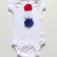Baby girl 4th of July Onesuit (R), Red, white and blue bodysuit, Baby July 4th one piece, 12 months, 18 months, Baby girl t-shirt